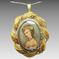 18 Karat Gold Hand Painted Portrait Pendant / Pin with Leaf Border