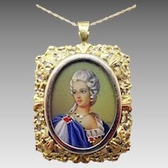 14 Karat Gold Hand Painted Portrait Pendant / Pin
