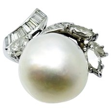 Platinum 14 mm South Sea Pearl Ring with .85 Carats of Diamonds
