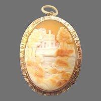 10 Karat Rose Gold Scenic Genuine Natural Cameo Pin / Pendant