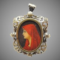 Italian .800 Silver Painted Pin / Pendant with St. Fabiola