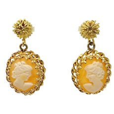 14 Karat Gold Dangle Earrings with Round Genuine Natural Cameos