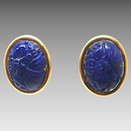14 Karat Gold Genuine Natural Lapis Post Earrings with Carved Flowers