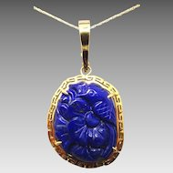 14 Karat Gold Carved Genuine Natural Lapis Pendant with Flower and Bird