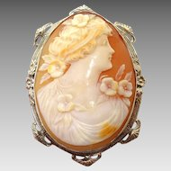 Large 14 Karat Gold Genuine Natural Shell Cameo Pin with Flowers