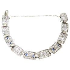 14 Karat Gold Filigree Diamond Bracelet with Synthetic Sapphires