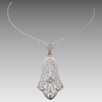 10 Karat Gold Filigree Genuine Diamond Pendant & 14 Karat Chain