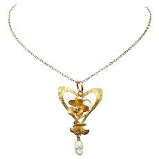 Art Nouveau 10 Karat Gold Diamond Lavaliere with Violet Shaped Mounting