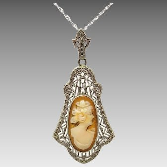 10 Karat Gold Filigree Genuine Natural Cameo Pendant with 14 Karat Gold Chain