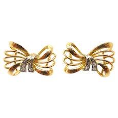 18 Karat Gold Retro Genuine Natural Diamond Bow Post Earrings
