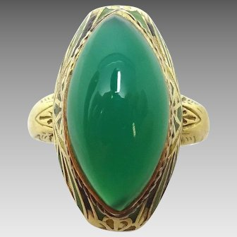 14 Karat Gold Green Genuine Natural Chrysoprase Ring with Enamel