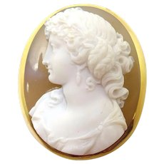 Fine 18 Karat Gold High Relief Genuine Natural Stone Cameo Pin