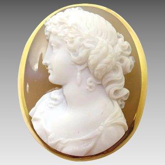 Fine 18 Karat Gold High Relief Genuine Natural Stone Cameo Pin
