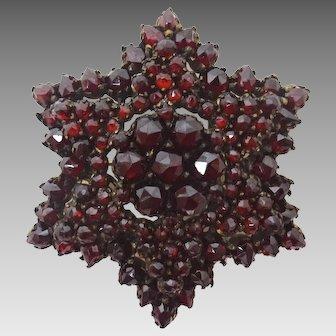 Genuine Natural Bohemian Garnet Starburst Brooch