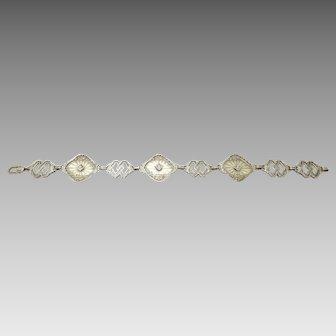 10 Karat Gold Filigree Bracelet with Genuine Natural Diamonds