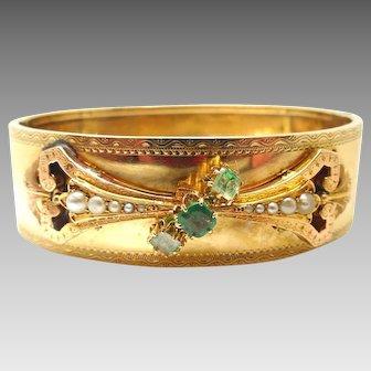 Victorian 14 Karat Gold Bangle Bracelet Hand Chased