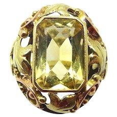 Retro 10 karat Yellow Gold 3.5ct Genuine Natural Citrine Ring