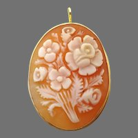 18 Karat Gold Oval Genuine Shell Cameo Pin / Pendant w/Floral Bouquet