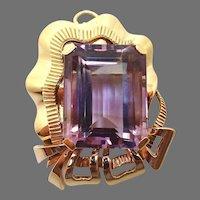Retro Huge 14 Karat Gold 36ct Genuine Natural Amethyst Pin / Pendant