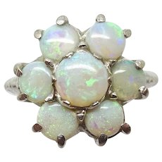 10 Karat White Gold Ring with Genuine Natural Opal Rosette Cluster