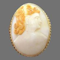 Large Oval 14 Karat Gold Genuine Natural Shell Cameo Pin / Pendant