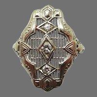 1920's 14 Karat White Gold Ring with Three Genuine Natural Diamonds