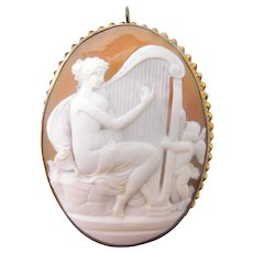 Large Genuine Natural Shell Cameo Pin / Pendant with Woman and Harp
