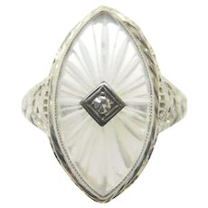 14 Karat Gold Marquise Genuine Natural Camphor Ring with Diamond