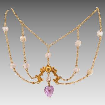 14 Karat Gold Victorian Festoon Amethyst Necklace with Pearls