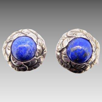 Georg Jensen Sterling Lapis Earrings #74