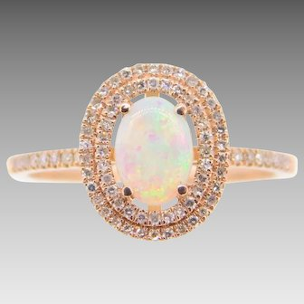 14 Karat Rose Gold Genuine Natural Opal Ring with .25ct Diamonds