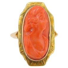 10 Karat Yellow Gold Genuine Natural Coral Cameo Ring