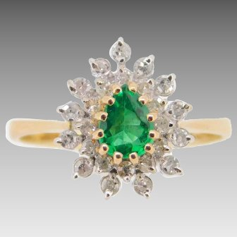 14 Karat Gold .44ct Genuine Natural Emerald Ring with Diamonds