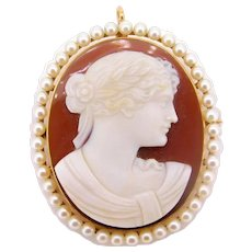 14 Karat Gold Hard Stone Cameo Pin / Pendant with Cultured Pearls
