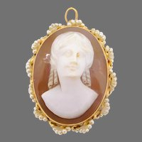 14 Karat Gold Oval Shell Cameo Pin / Pendant with Seed Pearls