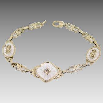 14 Karat Gold Filigree 1920's Genuine Rock Crystal Bracelet with Diamonds