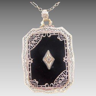 10 Karat Gold Filigree 1920's Genuine Natural Onyx and Diamond Pendant