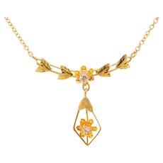 10 Karat Gold Victorian Lavaliere Pendant with Genuine Natural Diamonds