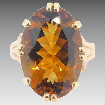 14 Karat Gold Large 10 Carat Oval Cognac Genuine Natural Citrine Ring