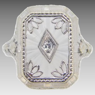 14 Karat Gold Filigree 1920's Genuine Natural Rock Crystal Ring with Diamond