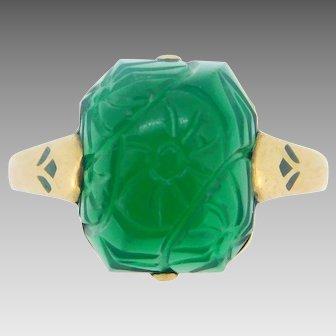 14 Karat Gold 1920's Genuine Natural Chrysoprase Ring with Enamel