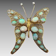14 Karat Huge Handmade Opal Butterfly Pin
