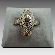 14 Karat Ruby Filigree Ring