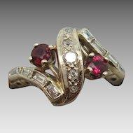 14 K Retro Ruby and Diamond Ring