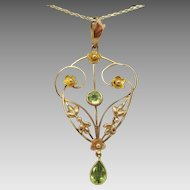 9 Karat Victorian Lavaliere Pendant with Peridots
