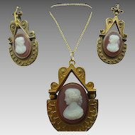 14 Karat Stone Cameo Pendant and Earrings Set