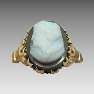 10 Karat Round Stone Cameo Ring