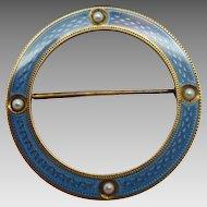 14 Karat and Blue Enamel Circle Pin