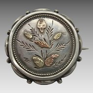 Round English Silver Pin with Gold Leaves