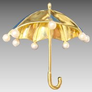 Tiffany 18 Karat Umbrella Brooch with 8 Pearls